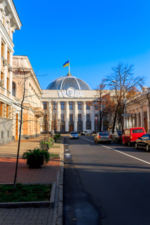 rada: KIEV, UKRAINE - OCTOBER 30: Exterior view of the Verkhovna Rada of Ukraine. The countrys authoritiesin Kyiv city. Ukraine. 2010