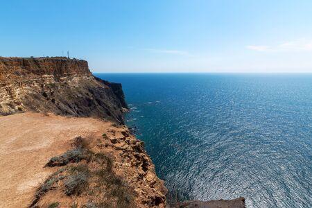 Beautiful sea near the mountain coast. Cape Fiolent, Sevastopol
