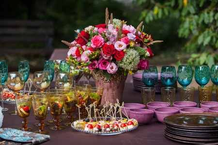 outdoor event: Table setting at a luxury wedding or another catered event