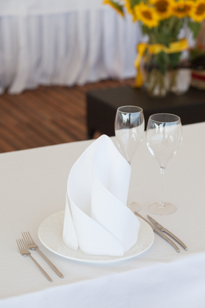 romantic places: Table arrangement in an expensive haute cuisine restaurant