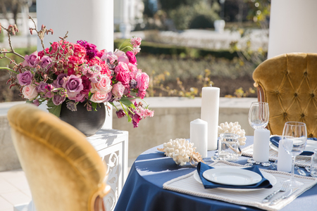 Table setting at a luxury wedding or another catered event. Marine themes