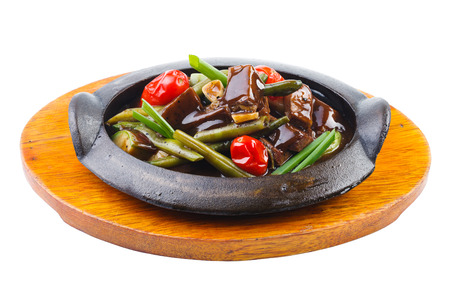snap bean: Beef with beans and tomatoes in a pan Stock Photo