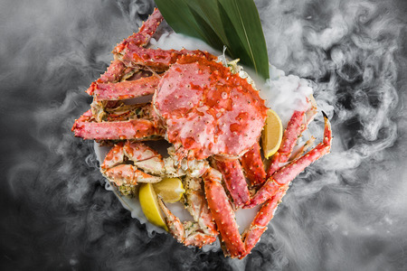 king crab on a dry ice