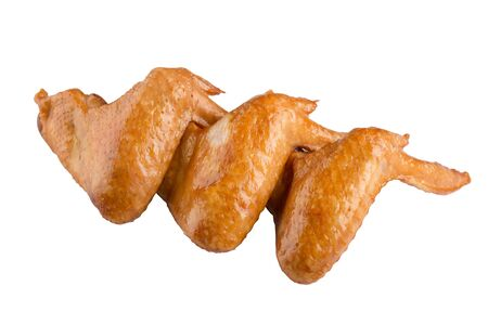 Smoked chicken wings isolated on white background.
