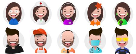 Un ensemble d'avatars, de personnes positives, de femmes et de mâles dirige différentes professions dans un style plat. Vector eps10 éditable. Arrière-plan transparent.