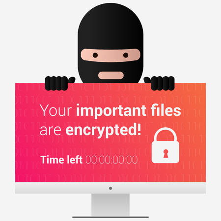 Head of the ransomware. Virus encryptor message on pc screen.  Editable eps10 Vector. Transparent background.
