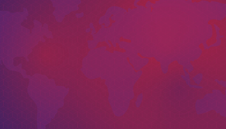 Cubic isometric pattern against the background of world continents, world map. Dark red background.  Editable eps10 vector.