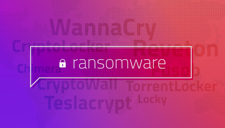 The message ransomware on the background of the world map and the names of the most popular ransomware. Reveton, Teslacrypt, Locky, Chimera, CryptoLocker, TorrentLocker, CryptoWall, Fusob, WannaCry.