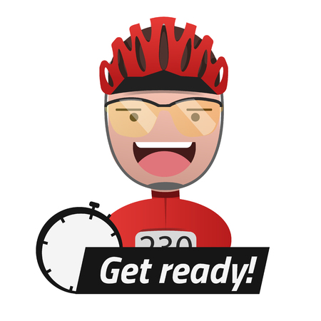 Head of the male cyclist. Title Get ready.  Editable eps10 Vector. Transparent background. Illustration