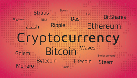 Cryptocurrency top names and world map.  Editable eps10 Vector. Transparent background. Ilustracja