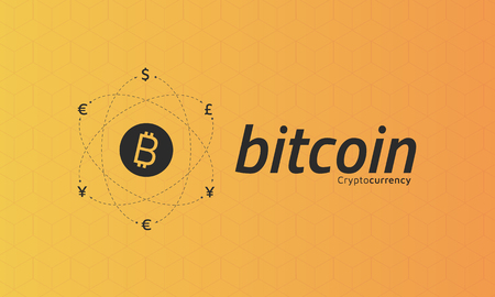 Bitcoin logo and signs of other currencies with exchange lines.  Editable eps10 Vector. Transparent background. Illustration