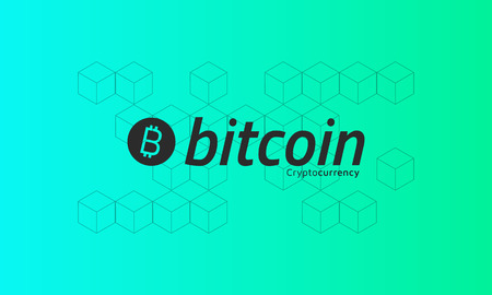 Bitcoin logo. Cubic isometric pattern. Green background.  Editable eps10 vector.