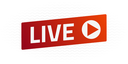 Vector Live Stream sign, emblem, logo. Color gradient. Flat material design. Template for citybanner, website, design, cover, infographics and more. White background. Illustration. Eps10.