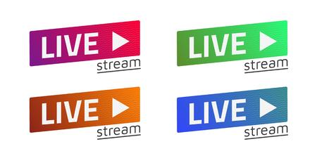 logo music: Vector Live Stream sign set, emblem, logo. Color gradient. Flat material design. Template for citybanner, website, design, cover, infographics and more. White background. Illustration. Eps10. Illustration