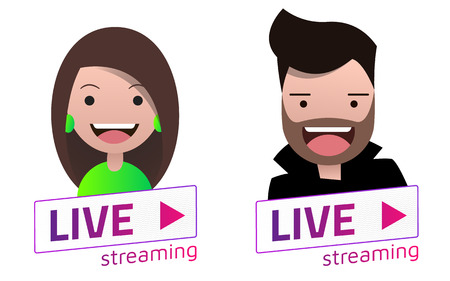 Vector Live Stream sign With male and female avatar set. Emblem, logo, badge. Color gradient. Flat material design. Template for citybanner, website, design, cover and more. White background. Illustration. Eps10.