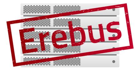 detected: Server rack. Red message Erebus. Virus encryptor ransomware.  Editable eps10 Vector. White background.