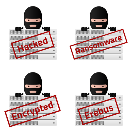 hacked: Server and Red stamp messages Hacked, Ransomware, Encrypted, Erebus. Virus encryptor ransomware avatar.  Editable eps10 Vector. White background.