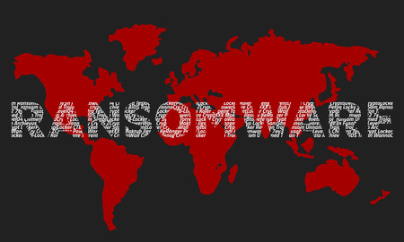 The word ransomware composed of the names of viruses on the background of the red world map. Dark background. Illustration