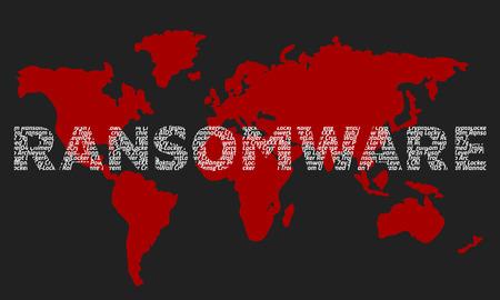 Het woord ransomware bestaat uit de namen van virussen op de achtergrond van de rode wereldkaart. Donkere achtergrond.