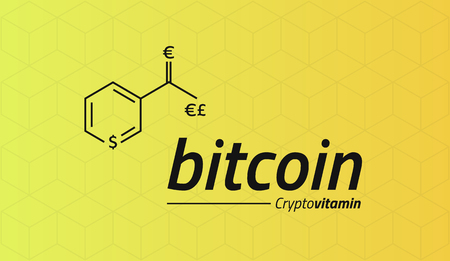 commerce: Bitcoin Chemical formula. Bitcoin like a Vitamin PP. Cubic isometric pattern. Eps10 Vector.