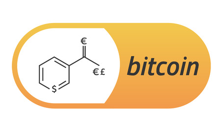 commerce: Bitcoin Chemical formula. Bitcoin like a capsule Vitamin PP. Eps10 Vector. White background.