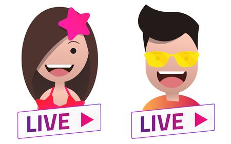 live stream sign: Vector Live Stream sign With summer male and female avatar set. Emblem, logo, badge. Color gradient. Flat material design. Illustration