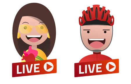 Red gradient Live Stream sign with Actress and Cyclist avatar set. Emblem, logo, badge. Flat design. Template for citybanner, website, design, cover. White background. Illustration. Eps10.