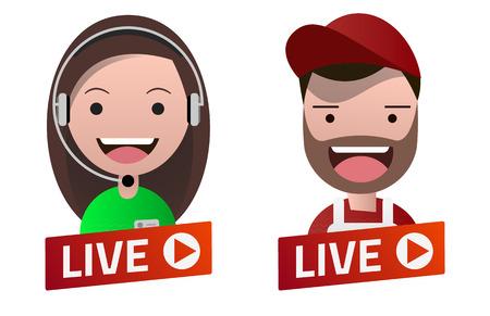 Red gradient Live Stream sign with Carpenter and Operator avatar set. Emblem, logo, badge. Flat design. Template for citybanner, website, design, cover. White background. Illustration. Eps10.