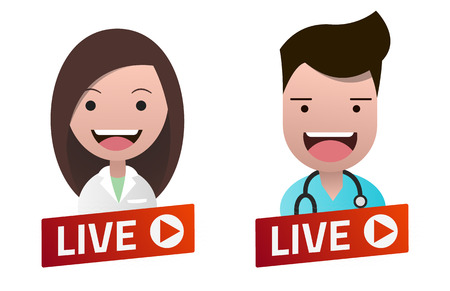 Red gradient Live Stream sign with Nurse and Doctor avatar set. Emblem, logo, badge. Flat design. Template for citybanner, website, design, cover. White background. Illustration. Eps10. 矢量图像