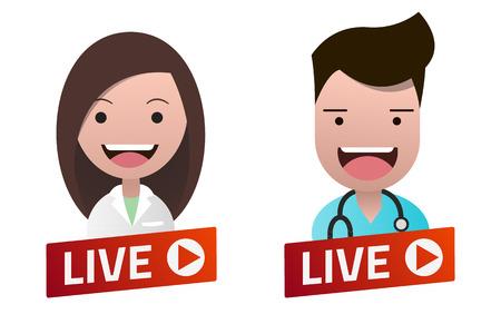Red gradient Live Stream sign with Nurse and Doctor avatar set. Emblem, logo, badge. Flat design. Template for citybanner, website, design, cover. White background. Illustration. Eps10. Illustration