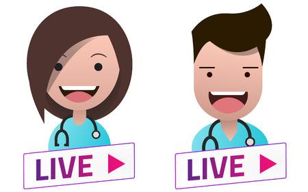 Live Stream white sign with Doctors avatar set. Emblem, logo, badge. Flat design. Template for citybanner, website, design, cover. 矢量图像