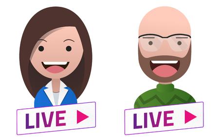 Live Stream sign with Man Woman Professor avatar set. Emblem, logo, badge. Flat design. Template for citybanner, website, design, cover. White background. Illustration. Eps10. 矢量图像