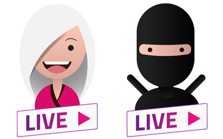 Live Stream white sign with Ninja avatar set. Emblem, logo, badge. Flat design. Template for citybanner, website, design, cover. White background. Illustration. Eps10.