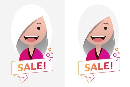 Vector Sale ribbon banner sign with female avatar. Emblem, logo, badge. Color gradient. Flat material design. Template for citybanner, website, design, cover. White background. Illustration. Eps10.