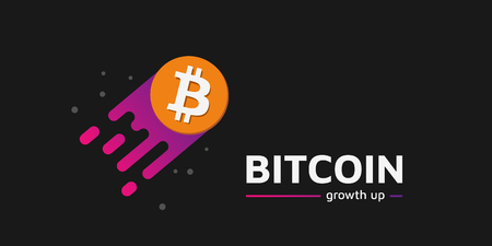 Growth up Coin as a comet. Bitcoin growth up text. Dark background. Illustration. Eps10. 矢量图像