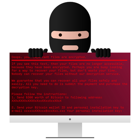 Head of the ransomware. Virus encryptor message on pc screen.  Editable Vector. Transparent background.
