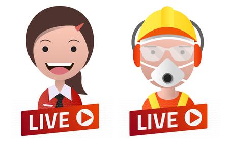 Red gradient Live Stream sign With worker and secretary avatar set. Emblem, logo, badge. Flat design. Template for citybanner, website, design, cover. White background. Illustration. Eps10. 矢量图像