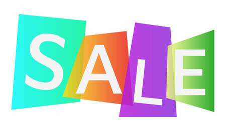 Sale on the background of colored gradient blocks. Vector illustration. Eps10. White background.