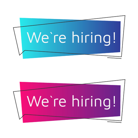 recruiting: We are hiring messages set. The message looks like a megaphone. Color gradients. Vector illustration. Illustration