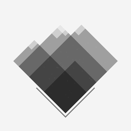 Rocky Mountains with snowy peaks and snow flakes. Logotype, icon, sticker, badge. Geometrical grayscale abstraction. Vector illustration. Eps10.