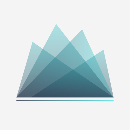 Blue Mountains. Logotype, icon, sticker, badge. Geometrical gradient abstraction. Vector illustration. Eps10. 矢量图像