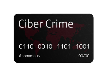 Black Cyber Crime credit card with World Map and connection line. Vector illustration. Eps10. White background.