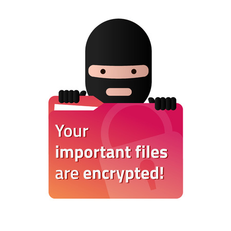 Ransomware holding a red folder with user documents. Vector illustration. Eps10. White background.