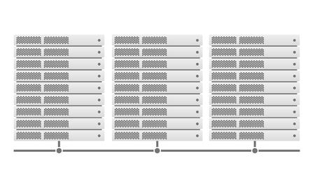 Server racks joined by a link. Material design. Grey. Vector illustration. Eps10. White background.
