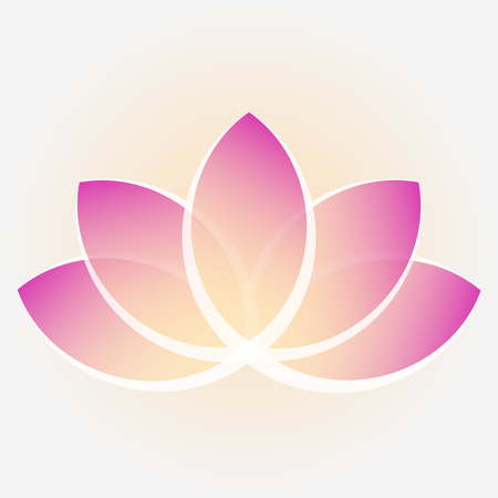 A lotus flower with yellow-purple petals. Image for logos. Vector illustration. Eps10. White background.