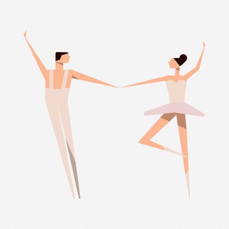 Ballet dancer and Ballerina. Ballet dance. Slender figures.  illustration. White background.
