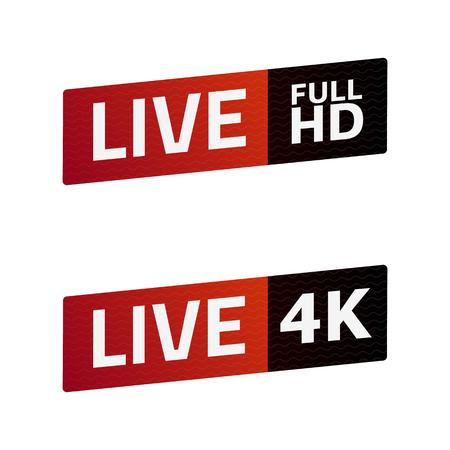Livestream-tekenset. FULL HD, 4K. embleem, logo. Kleur verloop. Vlak materiaalontwerp. Sjabloon voor citybanner, website, ontwerp, omslag, infographics en meer. Witte achtergrond. Vector illustratie. Eps10.