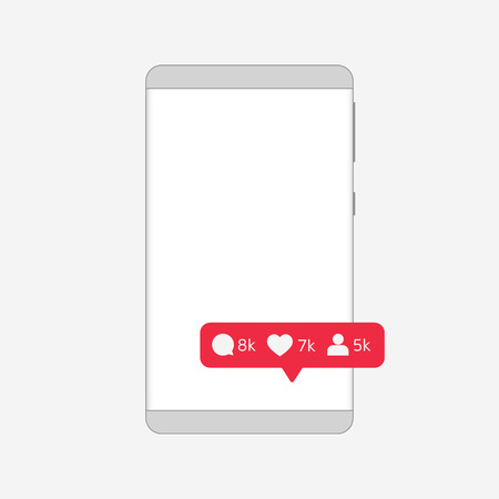 Message about new comments, likes and subscribers. Depersonalized Frameless Smartphone outline. Pixel perfect. Gray gradients. Vector illustration. Eps10 Vector. White background.