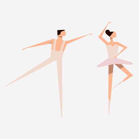Ballet dancer and Ballerina. Ballet dance. Slender figures. Vector illustration. White background. 矢量图像