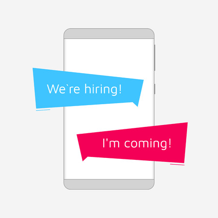 Frameless Smartphone with chat messages. Use as a template by changing the text. We`re hiring!